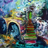 "Stairway 2019 Acrylic on Yupo paper 11""x14"""